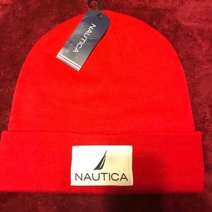 NWT Nautica Knit Hat Red